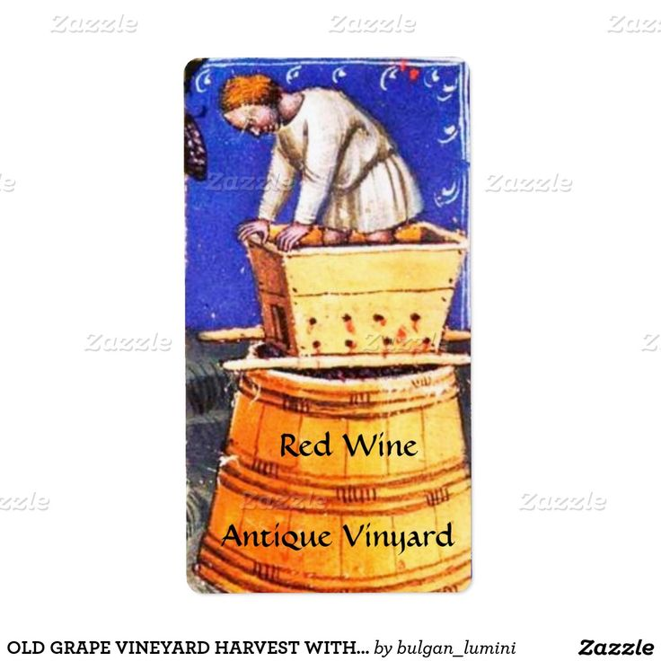 OLD GRAPE VINEYARD HARVEST WITH WINE BARRELS SHIPPING LABEL