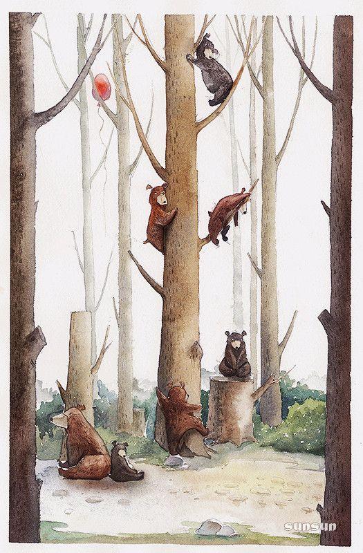 熊孩子 - 木壳人_插画 手绘 水彩_涂鸦王国 (Bear children - Muke people _ hand-painted watercolor illustrations _ graffiti Kingdom-Google translated)