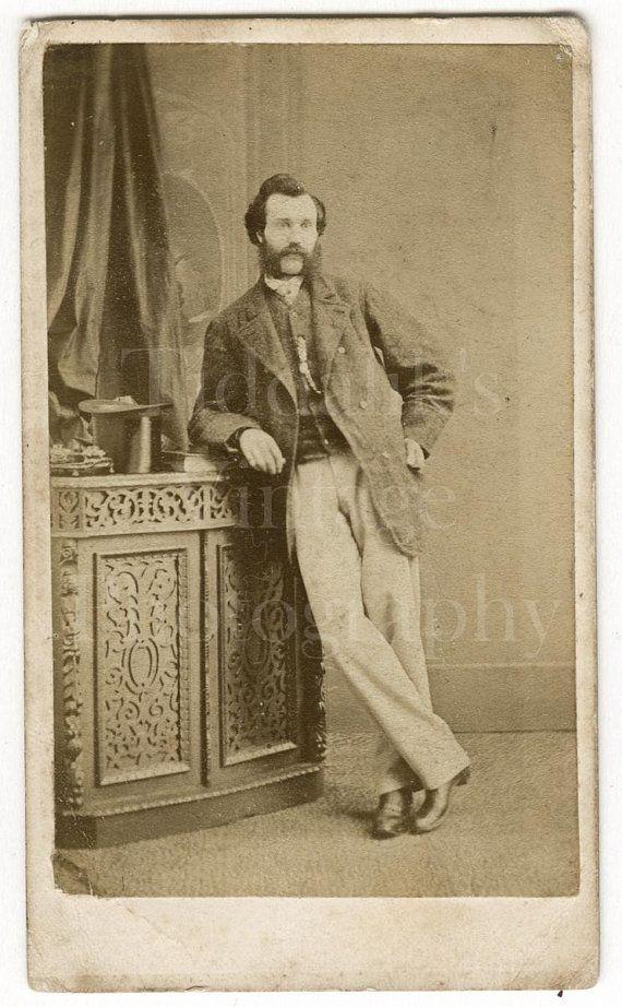 CDV Carte De Visite Photo Victorian Young Smart Man Mustache Sideburns Casual Portrait