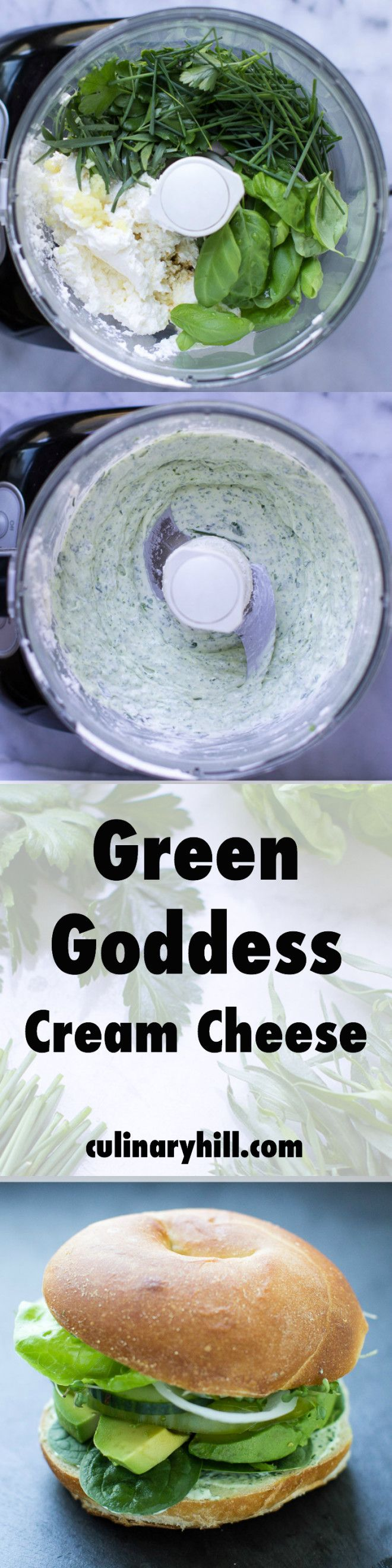 An easy cream cheese blend that uses all your favorite Green Goddess herbs: Basil, tarragon, parsley, and chives! Perfect on your next bagel or sandwich.