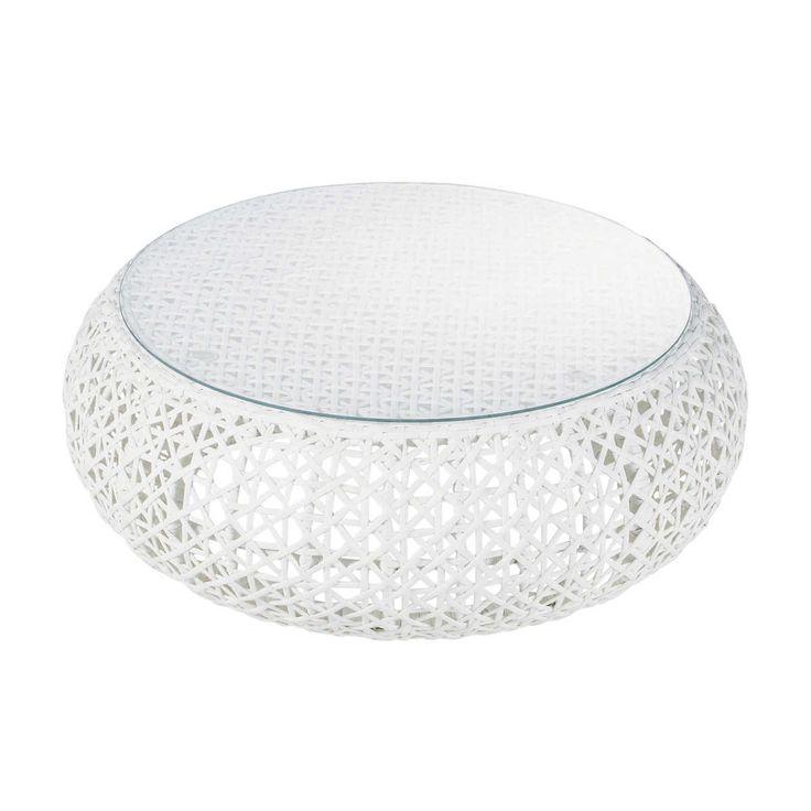 White woven round garden coffee table DURBAN