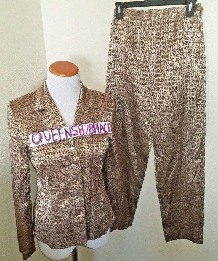 I.N. Studio Womens Petite Size 6 8 P Stretch Gold 2pc Pants Jacket Blazer Suit #INStudio #PantSuit