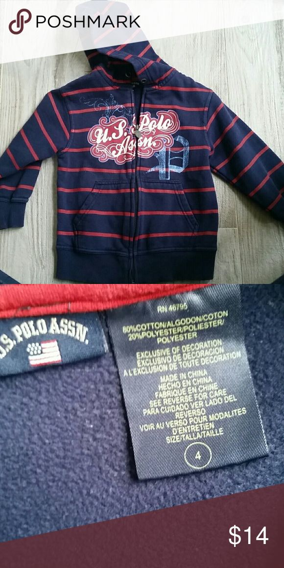 US Polo Association zip-up sweatshirt Gorgeous quality material.  80% cotton 20% polyester.  New without tags.  Size 4 boys. U.S. Polo Assn. Shirts & Tops Sweatshirts & Hoodies