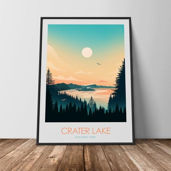 Travel Poster Of Crater Lake National Park Home Decor Wall Art Travel Poster Travel Print National Park Poster Art Print Travel Gift Prints In 2020 Crater Lake National Park Crater Lake