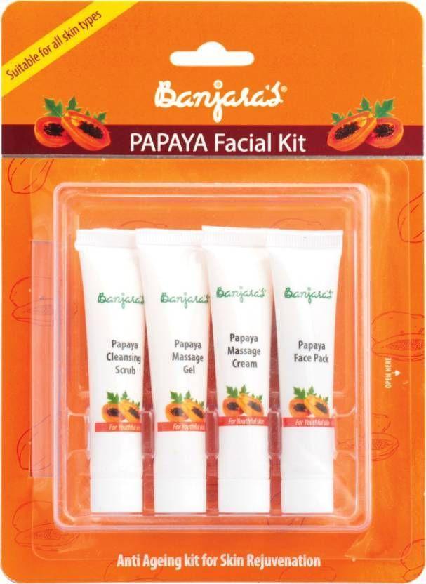 Banjara's Papaya Facial Kit Anti Ageing Skin Firmness Anti Acne Pimples 60 g #Banjaras
