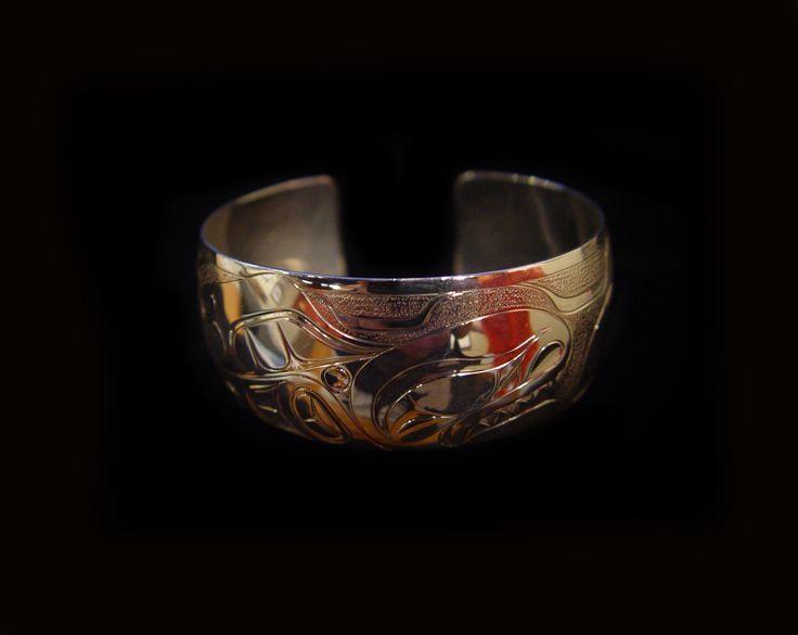 "Raven Moon Bracelet, Sheldon Williams. Hand carved sterling silver, 1"". Northwest Coast First Nations Art."