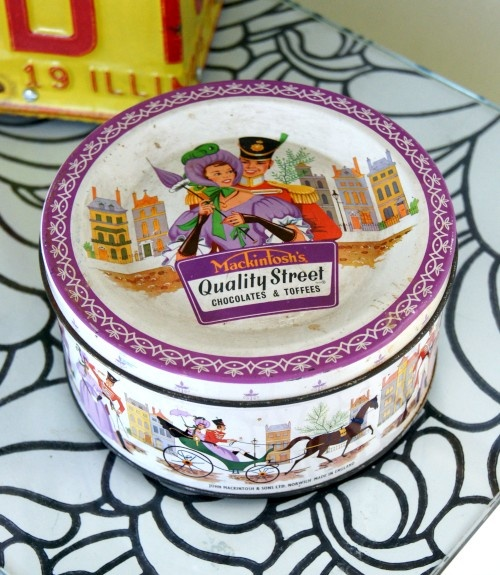 1960s Quality Street Chocolates Tin. My grandma has a tin like this. I have three now, so I guess that makes me some half assed collector. Turns out I associate the wrong kind of candy with this tin; I thought chocolate, but it's just ...candy.