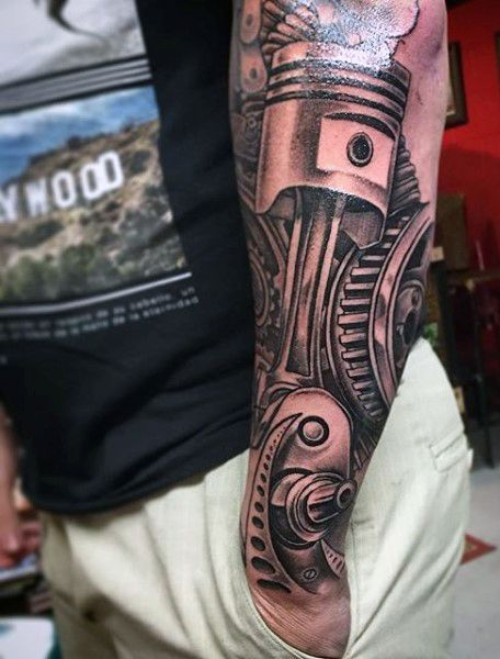Internal Combustion Piston Ideas For Men's Tattoos