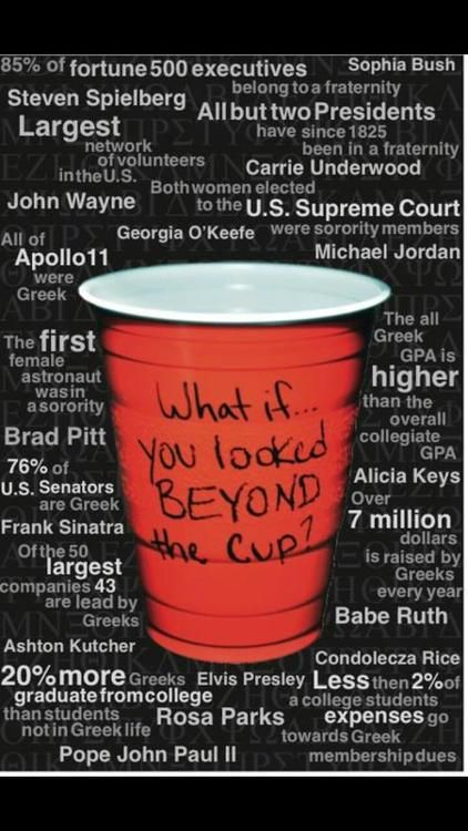 What if you looked beyond the cup? I think this is great. Greek life is so much more than the stereotype people think it is.