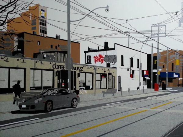 "Streetscape ""tape"" art! Painstakingly created ~ this is absolutely brilliant mixed media work! 🇨🇦 This one of a kind piece by Toronto artist E. Pavao is titled ""Coffee and All That Jazz"" and is an exclusive to foxsly.com. Click the image for details and to purchase! (Urban life, urban landscape, City streets, luxury artwork, original art, tape art, resin, Canadian)"