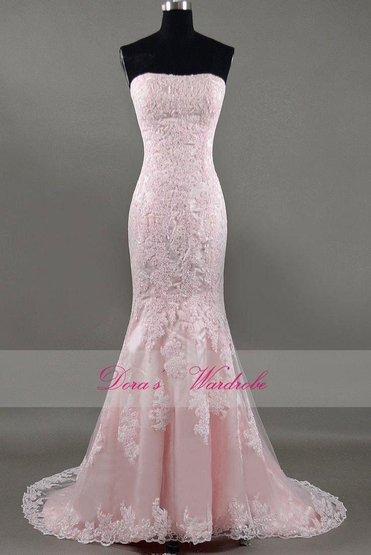 Light Pink Dress For Wedding Best Of Elegant Mermaid Pink Lace Wedding Dressstrapless By Pink Wedding Dresses Pink Wedding Gowns Light Pink Dress
