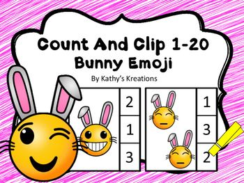 Emoji Counting Fun! You will receive 20 task cards for students to practice counting up to 20 Bunny Emojis. Count And Clip Cards work well for preschool, kindergarten and special education students working on counting one-one and number recognition to 20.
