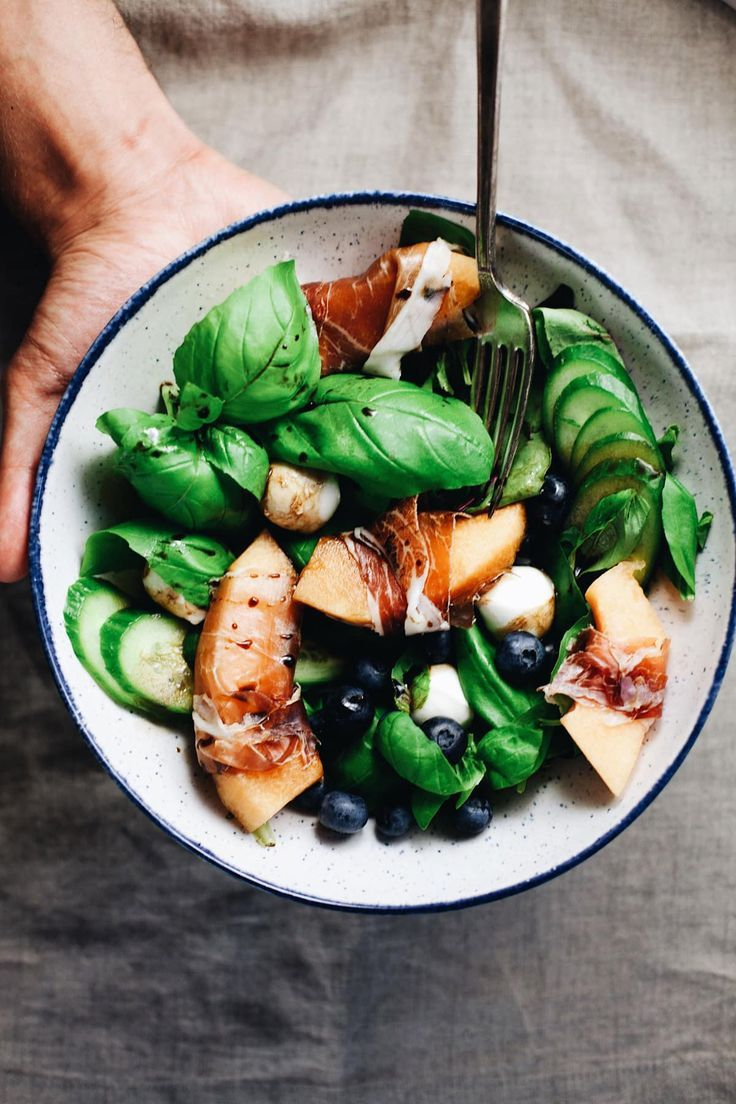 Summer Basil Salad With Prosciutto Melon Recipe Healthy Salad Recipes Food Summer Salads