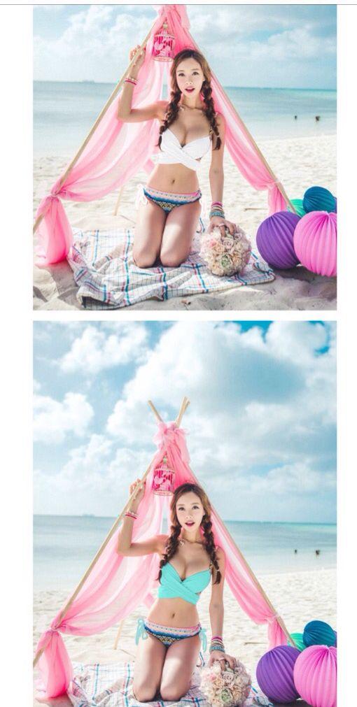 Bikini rojo contra bikini rosa