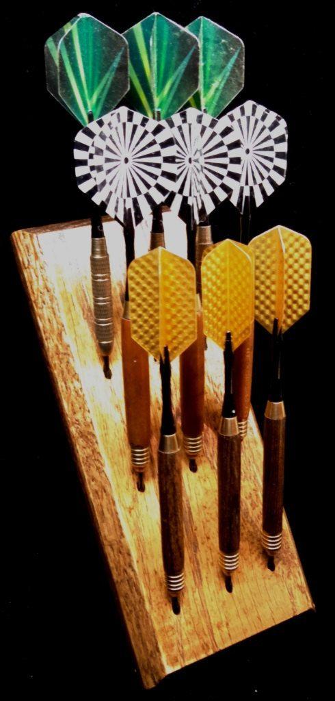 Custom dart rack and desktop display - Multiple styles! Light , Medium , Dark Oak, Ebony, Clear Coat - FREE FEET and Keyholes!!