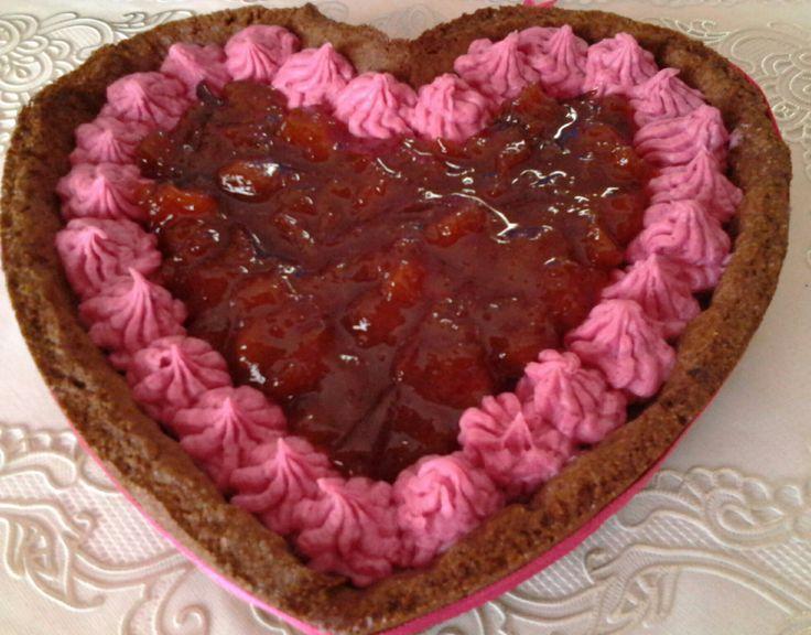Cuore al cioccolato rosa