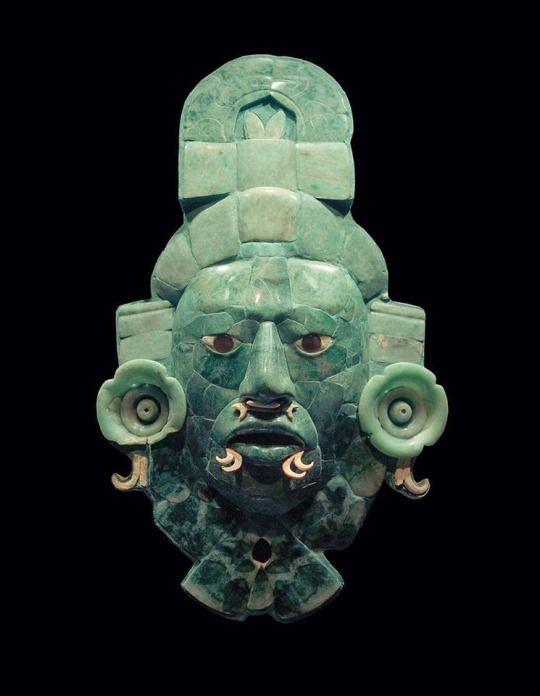 #Precolumbian -- Jade Mayan Mask -- Circa 600 CE