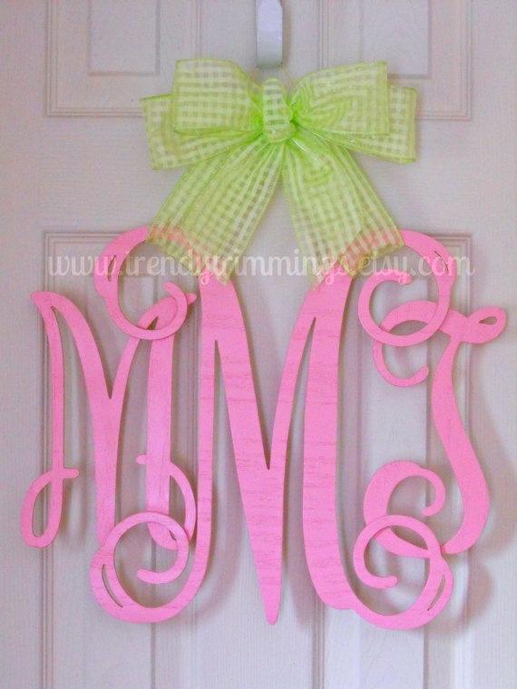 Wooden Monogram Door Hanger by TrendyTrimmings on Etsy, $35.00