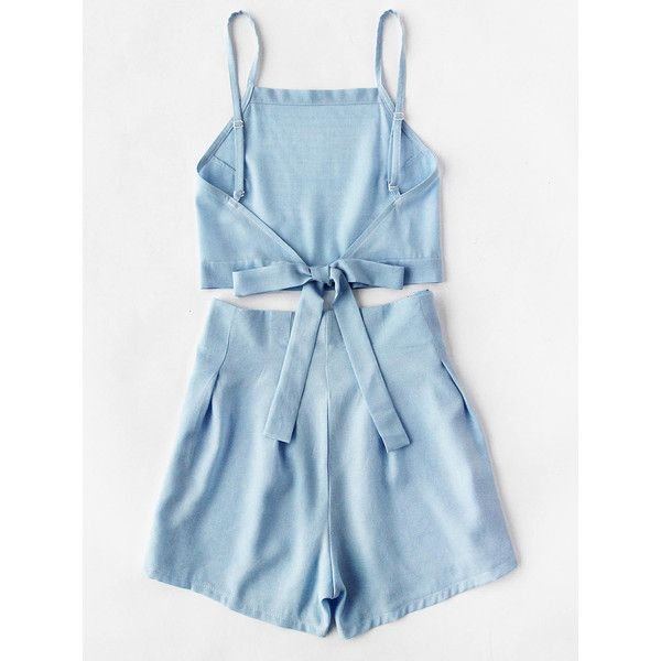 Bow Tie Open Back Cami Top And Shorts Set ($15) ❤ liked on Polyvore featuring blue camisole and blue cami