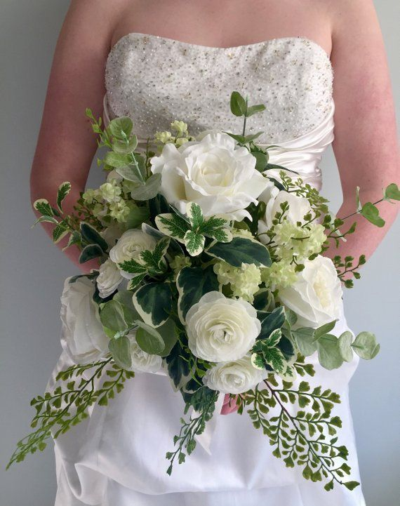 Silk Bridal Bouquet White Rose Bouquet Greenery Wedding Bouquet