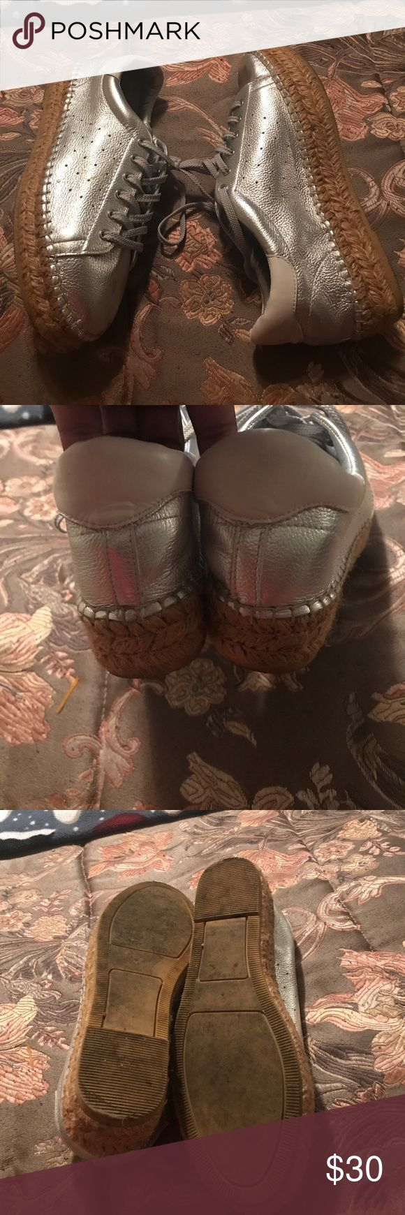 Steve Madden shoes Silver leathers sneaker Cute for a casual look type of day They are in good condition no holes ropes tears or stains SMOKE FREE/PET FREE HOME Steven By Steve Madden Shoes Athletic Shoes
