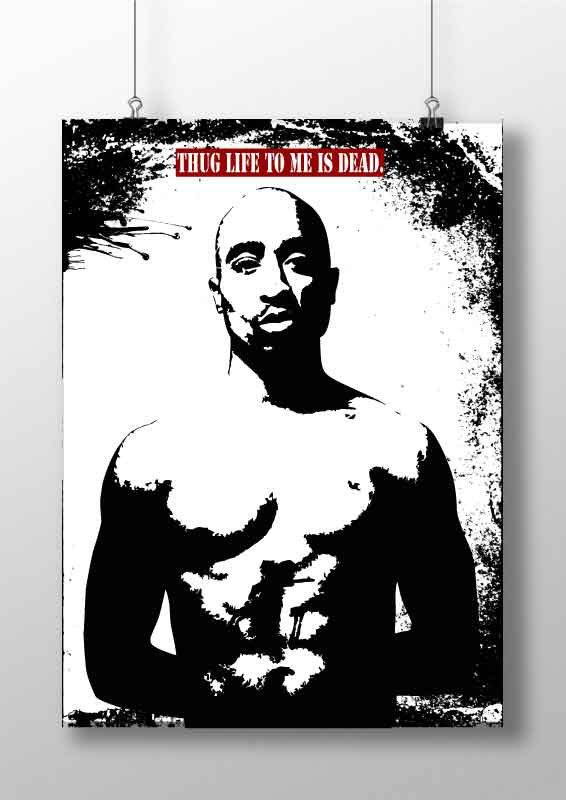 Thug Life Tupac poster print 2 pac Rapper Hip Hop   by BelugaStore