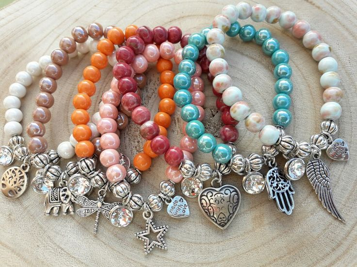 Cerámic beaded bracelets in happy colors