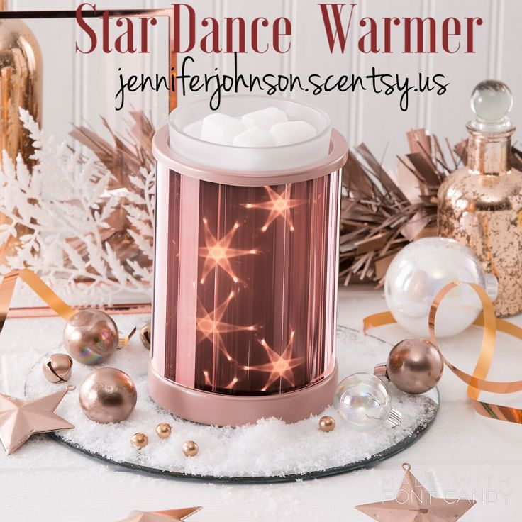 Star Dance features an internal multipoint light source — viewed through holographic film — to create a twinkling, three-dimensional starry night effect that's positively galactic. Accented with a rose-gold metallic finish! Order @ jenniferjohnson.scentsy.us