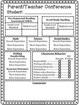 Parent Teacher Conference Sheet