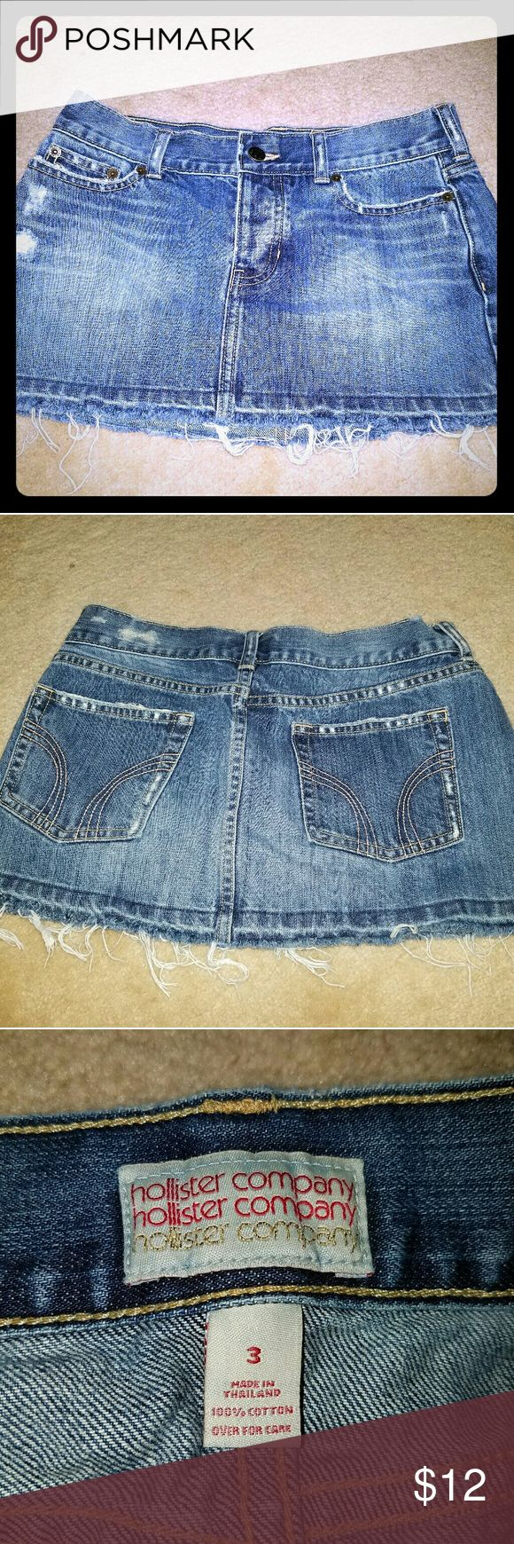 Distressed mini Jean skirt Short jean skirt with distressed look, no signs of wear. It's a size 3 as you can see in photo -- there was only the option to choose 2 or 4 below Hollister Skirts Mini