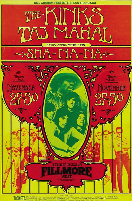 The Kinks, Taj Mahal, Sha Na Na November 27-30, 1969, Fillmore West