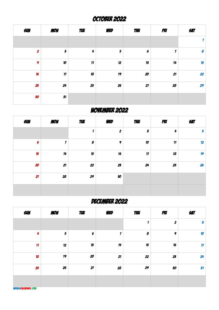 Free Calendar October November December 2022 Q1 Q2 Q3 Q4 Printable Calendar July Calendar Printables Free Calendar