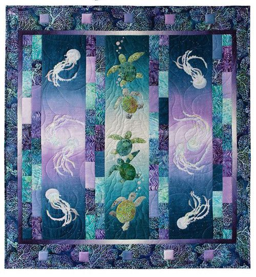 """Learn the tango of the tides! This pattern contains all the instructions and appliques to make the full quilt. Finished quilt approximately 50"""" x 53""""."""