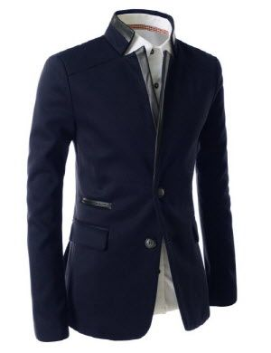 Slim Fit China Collar Leather Patched 2 Button Blazer