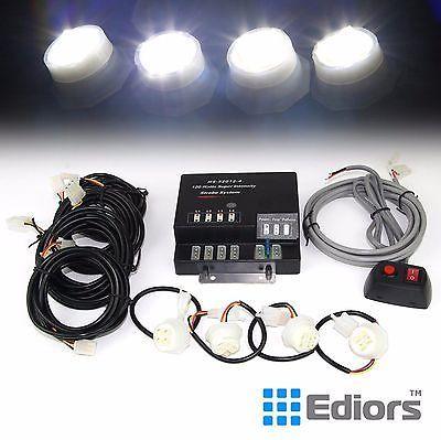 120W 4 LED Bulbs Hide A Way Emergency Hazard Warning Strobe Lights System Kit