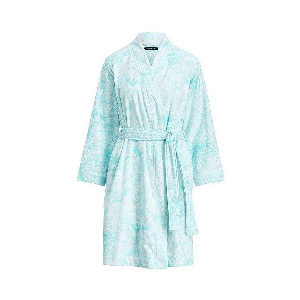 Ralph Lauren Lauren Paisley Terry Kimono Robe ($98) ❤ liked on Polyvore featuring intimates, robes, kimono bathrobe, ralph lauren bathrobe, terrycloth robe, terry cloth robe and terry bath robe