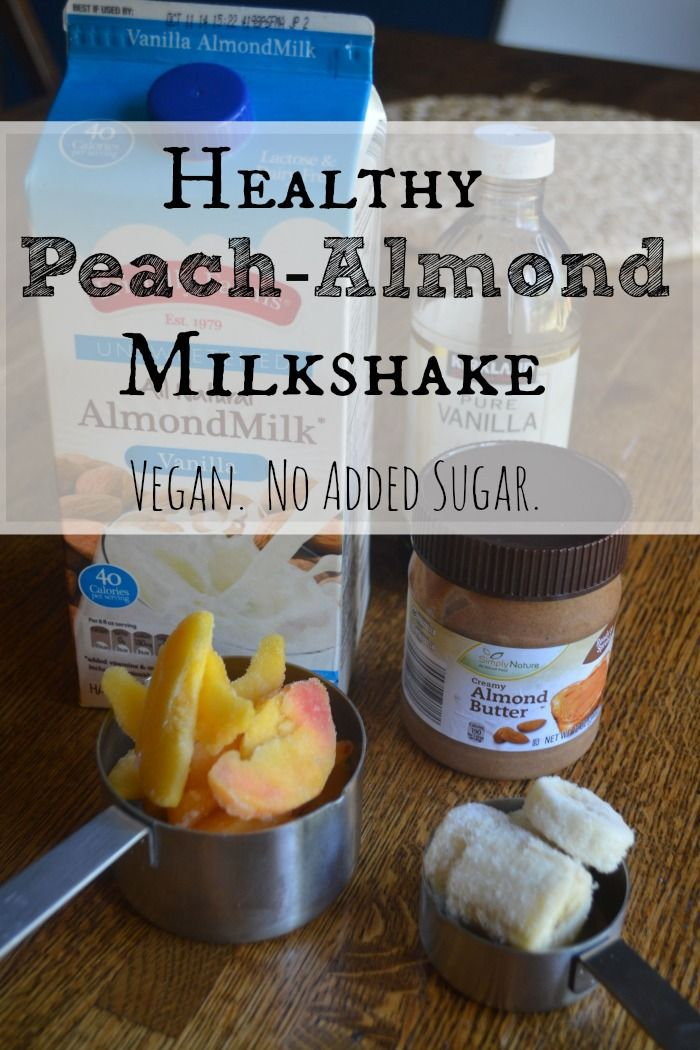 1 cup frozen peaches 1/4 cup sliced bananas 1 cup Almond Milk 1 small tsp Almond Butter  1 TBL natural vanilla extract Just put all these ingredients into your blenderand BLEND!