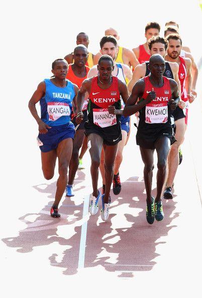 Dotto Ramadhani Ikangaa of Tanzania, Elijah Motonei Manangoi of Kenya and Ronald Kwemoi of Kenya compete in the Men's 1500 metres heats at Hampden Park during day nine of the Glasgow 2014 Commonwealth Games on August 1, 2014 in Glasgow, United Kingdom.