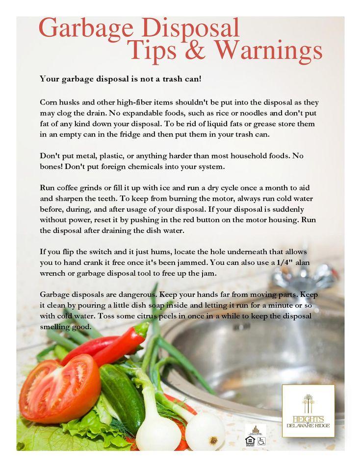 garbage disposal tips and warnings
