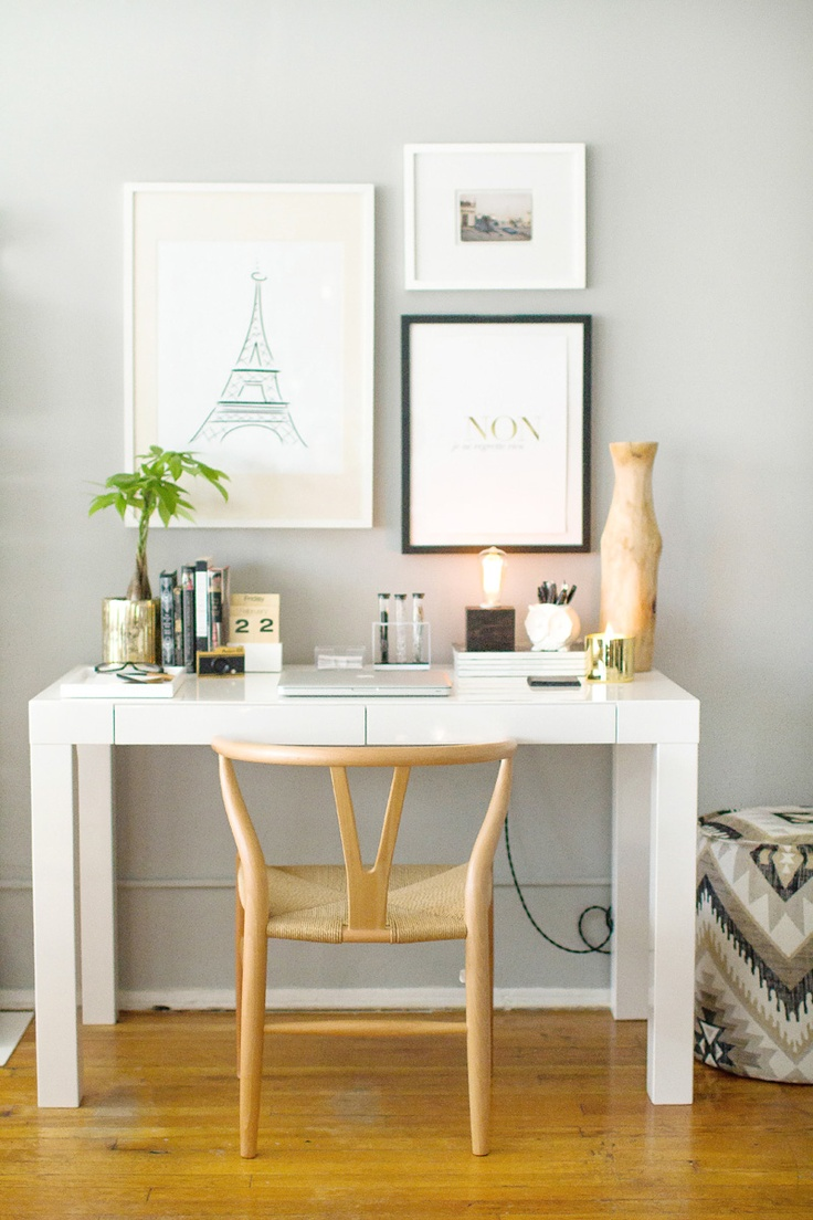 gold and grey desk inspiration