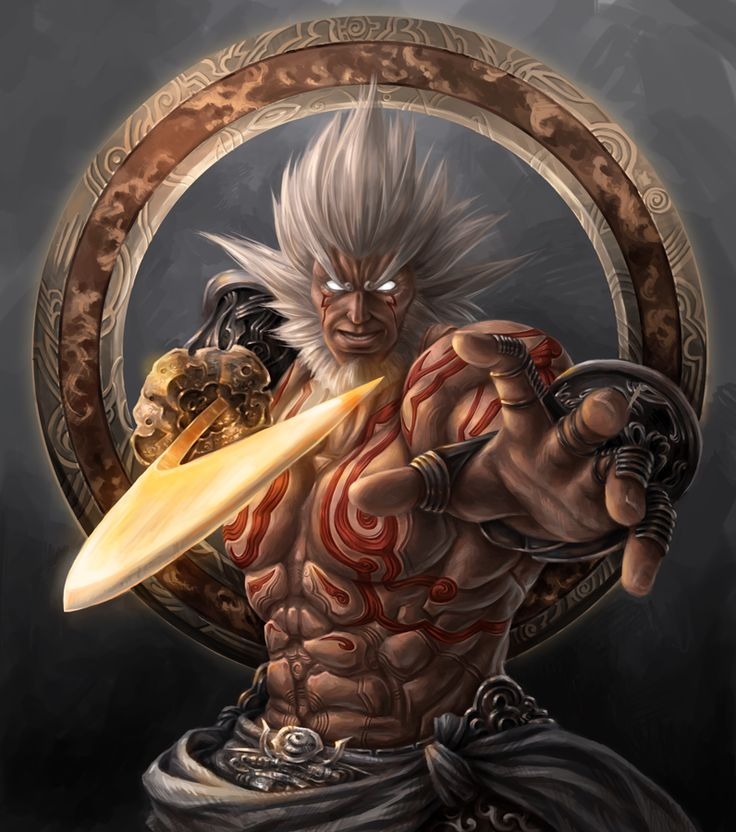 Augus' greatest weapon is a mystical sword named 'Wailing Dark  Wailing Dark has the ability to extend its blade to impossibly long lengths, and allows its wielder to generate massive waves of energy that travel above or along the ground.  Augus - Asura's Wrath by JxbP