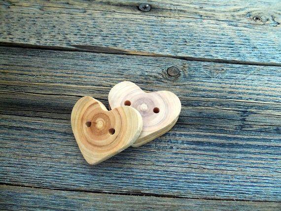 Wood Buttons  3 Handmade Wood Heart Buttons-3 Heart  White