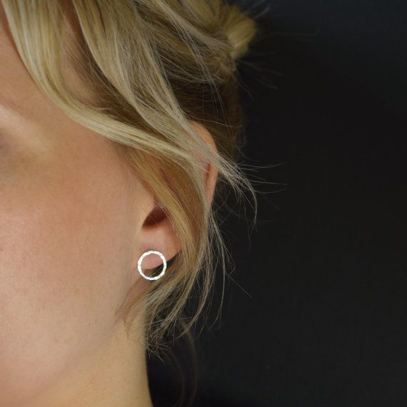 Open Circle Stud Earrings  Hammered Circle Post by MUKAstudio