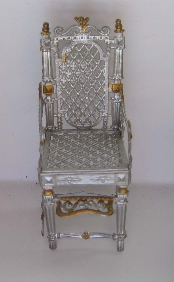 Antique German Dollhouse Miniature Soft Metal Highchair Or Youth Chair.