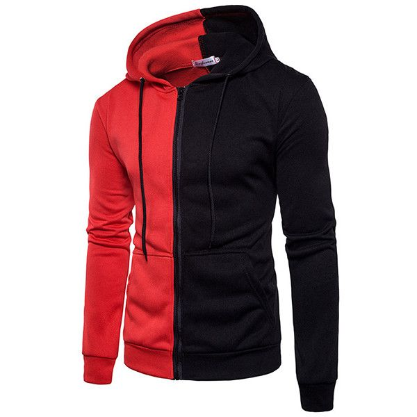 s Casual Sport Style Thin Zip Up Hoodie ($25) ❤ liked on Polyvore featuring men's fashion, men's clothing, men's hoodies, mens sport hoodies, mens zip up hoodie, mens sports hoodies, mens zip up hoodies and mens sweatshirts and hoodies