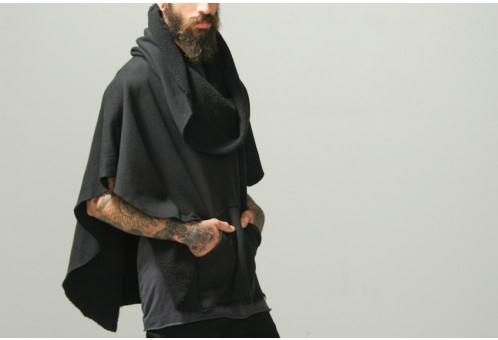 Black Funnel Neck Poncho Oak Collection Men Oak