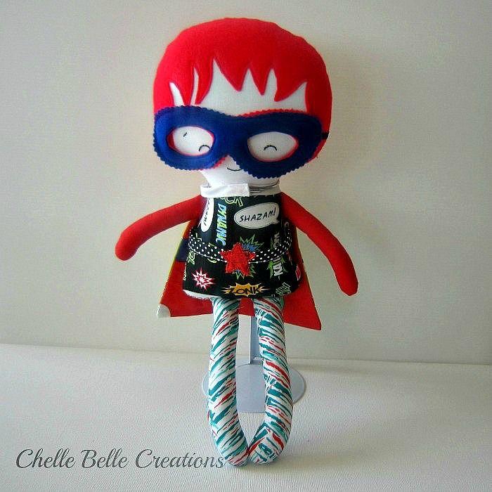 Boy Super Hero Soft Doll | Chelle Belle | madeit.com.au