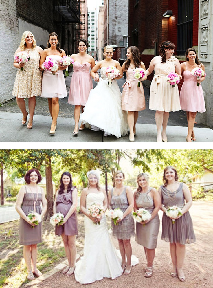 <3 the different style bridesmaid dresses, so it can flatter each girl individually.: Style Bridesmaid, Bridesmaid Dresses, Different Styles, Difference Style