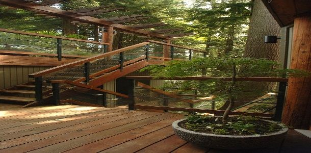Exterior Wood Stairs with Landing
