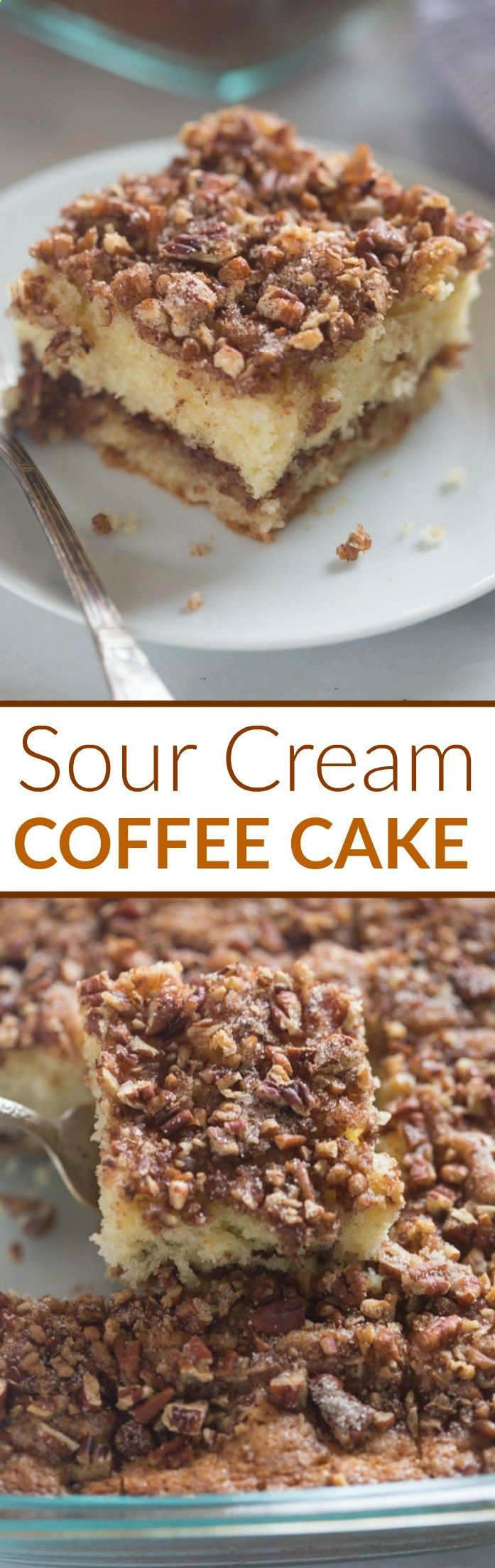 This Sour Cream Coffee Cake is not only incredibly EASY to make, its absolutely delicious! A tender crumb cake with cinnamon pecan topping. You wont be able to stop at just one piece.  Tastes Better From Scratch